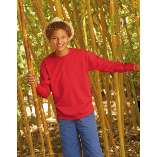 Childrens kids Fruit of the Loom Long Sleeve Cotton t-shirt 3-13